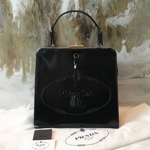 Prada Spazzolato Black Logo Frame Cerniera Bag